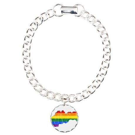 Slovakia Rainbow Pride Flag And Map Charm Bracelet