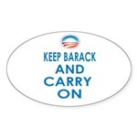 Keep Barack And Carry On Sticker (Oval 10 pk)