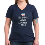 Keep Barack And Carry On Women's V-Neck Dark T-Shi