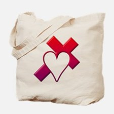 Red Cross with Heart Tote Bag