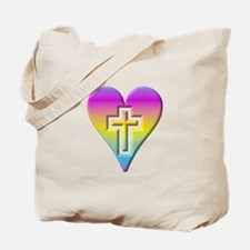 Pastel Heart with Cross Tote Bag
