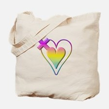 Pastel Hearts and Cross Tote Bag