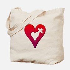 Red Heart with Cross Tote Bag