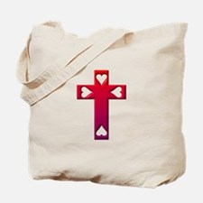 Red Cross with 4 Hearts Tote Bag