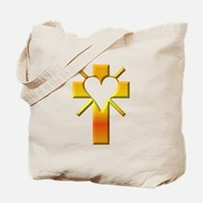 Yellow Cross with Heart and Rays Tote Bag
