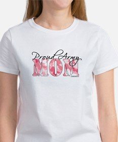 Proud Army Mom (Pink Butterfly Camo) Women's T-Shi