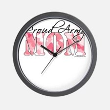 Proud Army Mom (Pink Butterfly Camo) Wall Clock