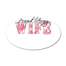 Proud Army Wife (Pink Butterfly Camo) Wall Decal
