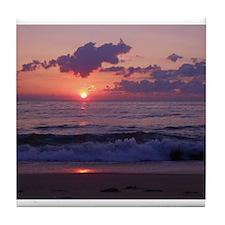 ocean sunrise Tile Coaster