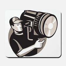 film crew with spotlight fresnel light Mousepad