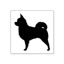 "Long Hair Chihuahua Square Sticker 3"" x 3"""