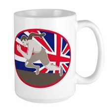 runner track and field athlete british flag Mug