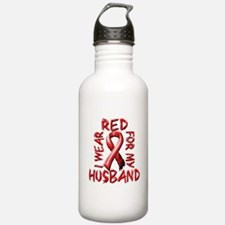 I Wear Red for my Husband Water Bottle