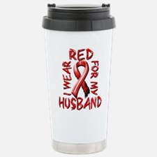 I Wear Red for my Husband Stainless Steel Travel M