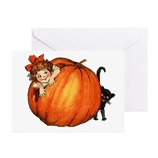 vintage girl with pumkin and cat Greeting Cards