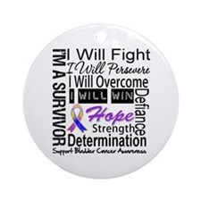 Bladder Cancer Persevere Ornament (Round)