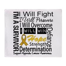 Appendix Cancer Perseverance Throw Blanket