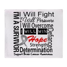 Brain Cancer Persevere Throw Blanket