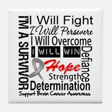 Brain Cancer Persevere Tile Coaster