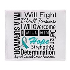 Cervical Cancer Persevere Throw Blanket