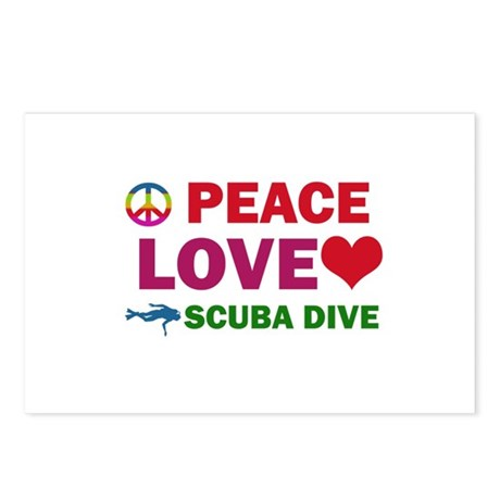 Peace Love Scuba Dive Designs Postcards (Package o