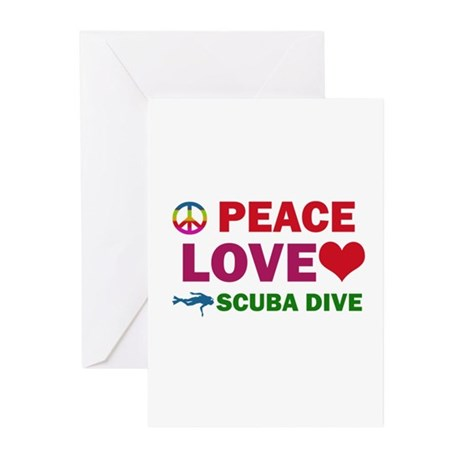 Peace Love Scuba Dive Designs Greeting Cards (Pk o