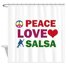 Peace Love Salsa Designs Shower Curtain