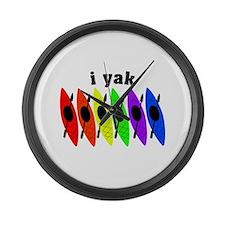kayak rainbow i yak.PNG Large Wall Clock
