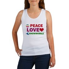 Peace Love Snowmobile Designs Women's Tank Top
