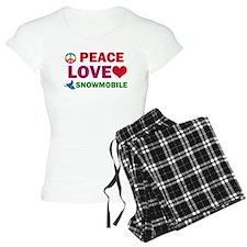 Peace Love Snowmobile Designs Pajamas