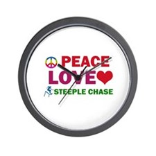 Peace Love Steeple Chase Designs Wall Clock