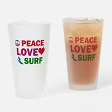 Peace Love Surf Designs Drinking Glass