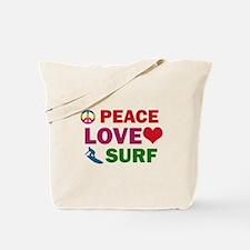 Peace Love Surf Designs Tote Bag