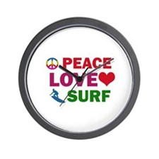 Peace Love Surf Designs Wall Clock