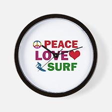 Peace Love Surf Designs Wall Clock