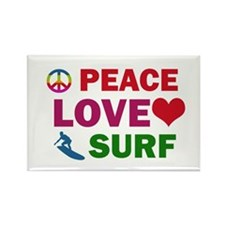 Peace Love Surf Designs Rectangle Magnet