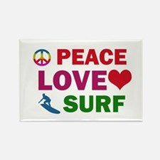 Peace Love Surf Designs Rectangle Magnet