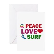 Peace Love Surf Designs Greeting Card