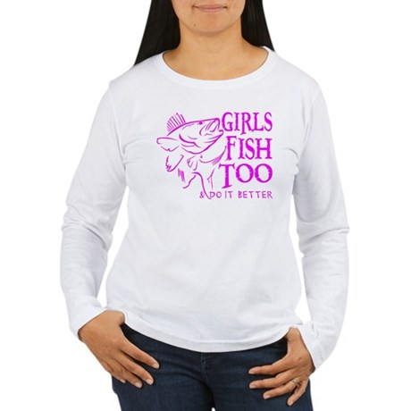 GIRLS FISH TOO WALLEYE Women's Long Sleeve T-Shirt