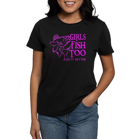 GIRLS FISH TOO WALLEYE Women's Dark T-Shirt