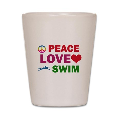 Peace Love Swim Designs Shot Glass