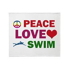 Peace Love Swim Designs Throw Blanket