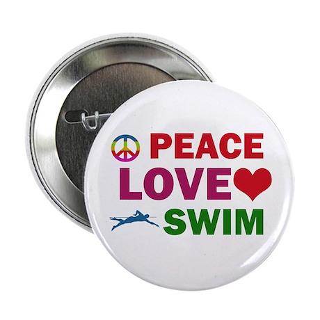 """Peace Love Swim Designs 2.25"""" Button"""