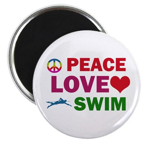 "Peace Love Swim Designs 2.25"" Magnet (10 pack)"