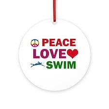 Peace Love Swim Designs Ornament (Round)
