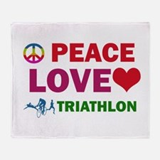 Peace Love Triathlon Designs Throw Blanket