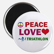 "Peace Love Triathlon Designs 2.25"" Magnet (10 pack"