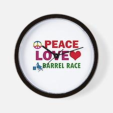 Peace Love Barrel Race Designs Wall Clock