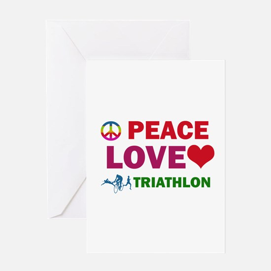 Peace Love Triathlon Designs Greeting Card