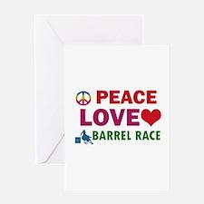 Peace Love Barrel Race Designs Greeting Card
